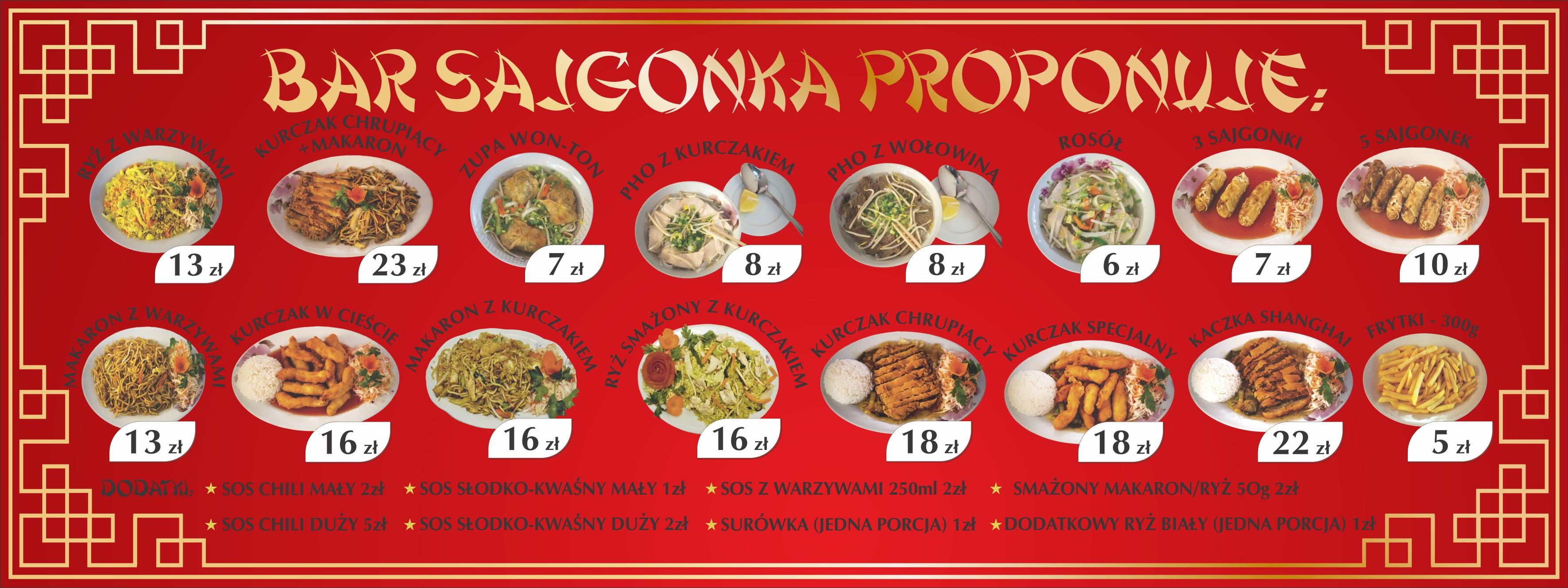 Menu 501 590 527 Bar Sajgonka Kuchnia Azjatycka